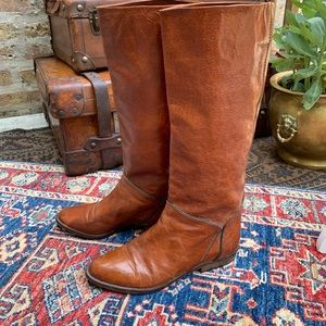 VTG Italian Ostrich Leather Riding Boots